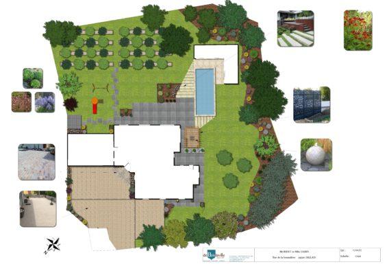 Plan du bureau d-étude aménagement jardins et piscines
